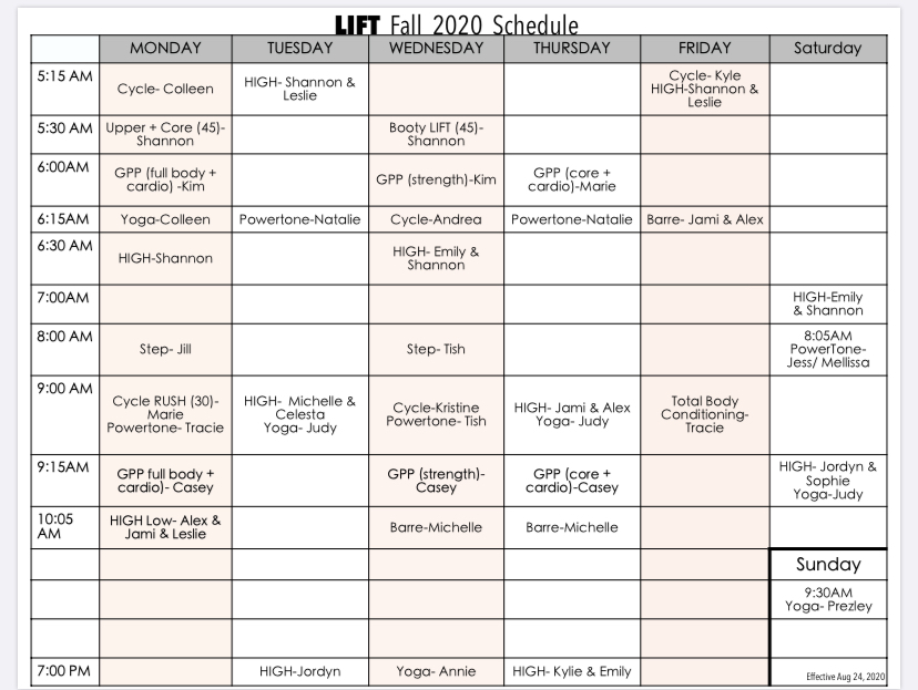 Lift at Station Park's Class Schedule for Fall 2020